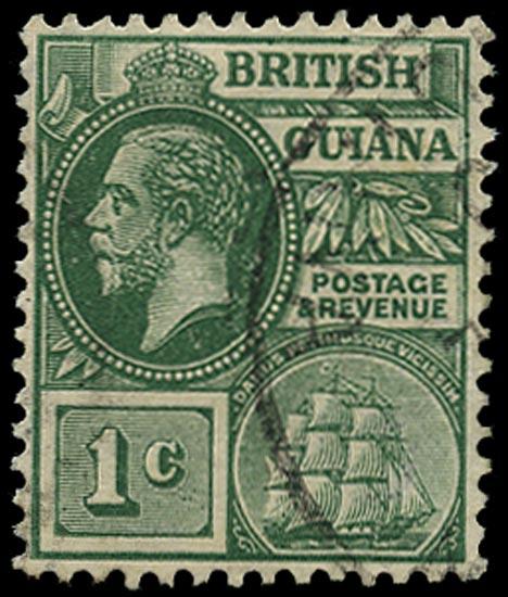 BRITISH GUIANA 1913  SG259ay Used KGV 1c blue-green watermark MCA variety watermark inverted and reversed