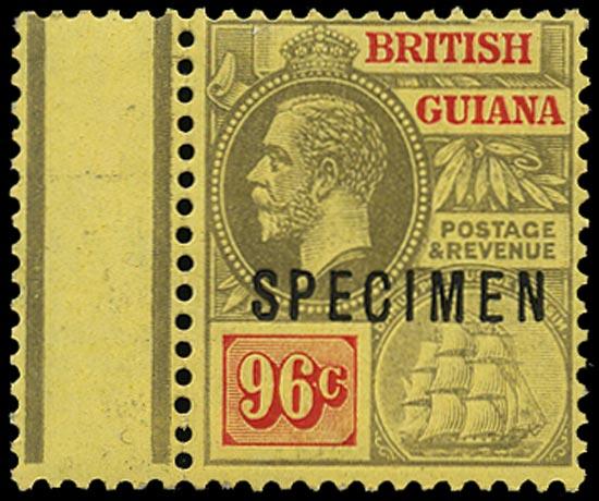 BRITISH GUIANA 1913  SG269cs Specimen KGV 96c black and vermilion on pale yellow paper