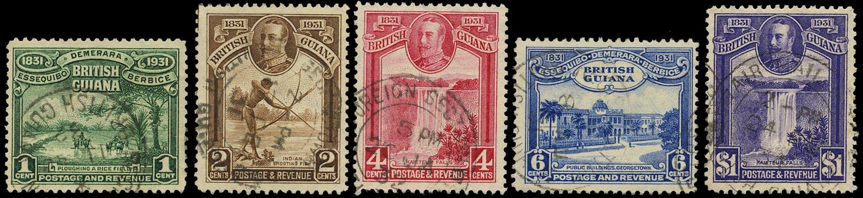 BRITISH GUIANA 1931  SG283/87 Used Centenary of County Union set of 5 to $1