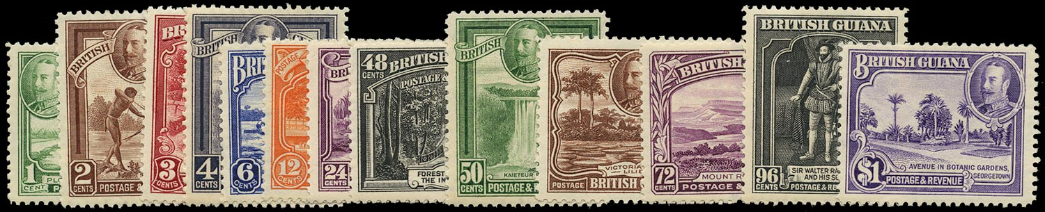 BRITISH GUIANA 1934  SG288/300 Mint Pictorial set of 13 to $1