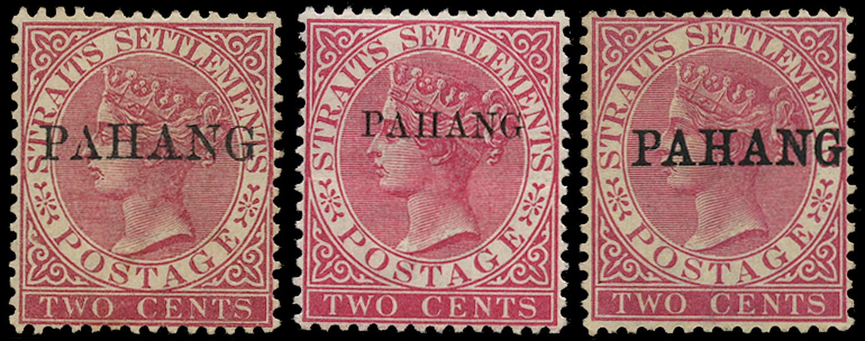 MALAYA - PAHANG 1889  SG1, 4a, 6 Mint