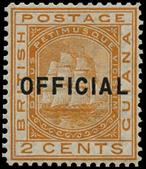BRITISH GUIANA 1877  SGO7 Official 2c orange Ship mint