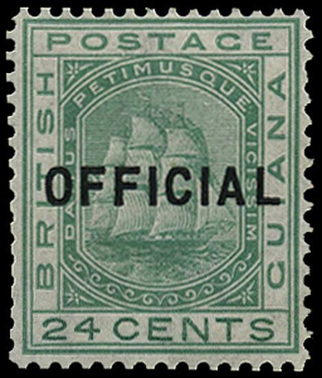 BRITISH GUIANA 1877  SGO12 Official unissued 24c green Ship mint