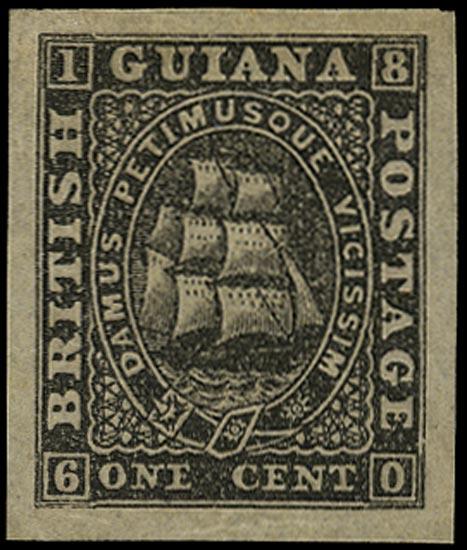 BRITISH GUIANA 1862  SG51 Proof of 1c black imperforate