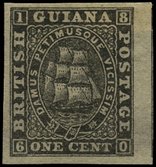 BRITISH GUIANA 1863  SG66 Proof of 1c black imperforate