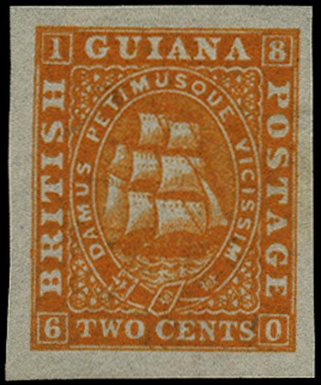 BRITISH GUIANA 1863  SG68 Proof of 2c orange imperforate