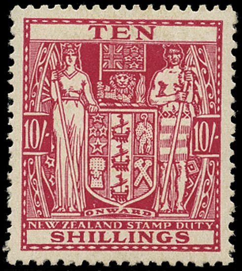 NEW ZEALAND 1940  SGF201 Postal Fiscal Arms 10s carmine-lake watermark Multiple NZ and Star