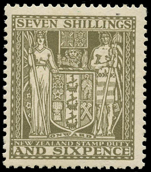 NEW ZEALAND 1931  SGF152 Postal Fiscal Arms 7s6d olive-grey watermark Single NZ and Star unmounted mint
