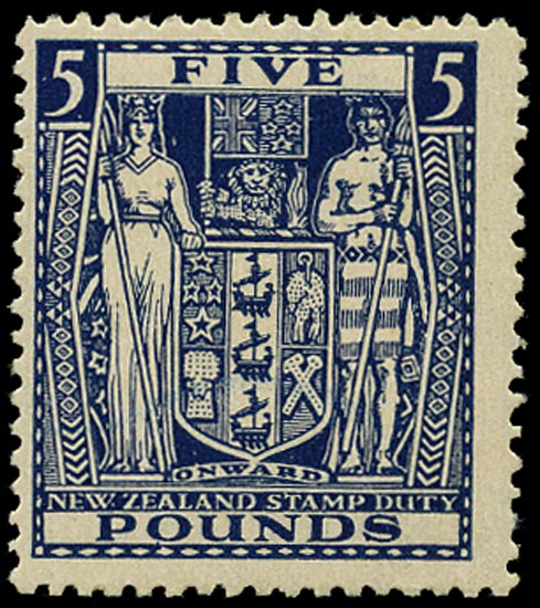 NEW ZEALAND 1940  SGF211w Postal Fiscal Arms £5 indigo-blue watermark Multiple NZ and Star unmounted mint