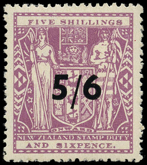 NEW ZEALAND 1940  SGF214 Postal Fiscal Arms 5/6 on 5s6d lilac watermark Multiple NZ and Star unmounted mint