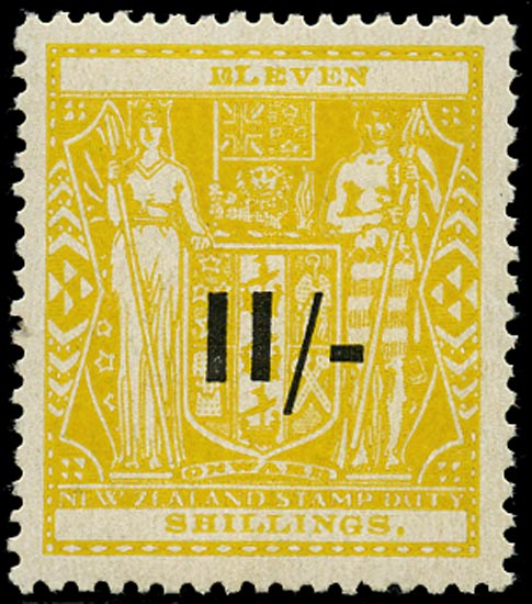 NEW ZEALAND 1940  SGF215 Postal Fiscal Arms 11/- on 11s yellow watermark Multiple NZ and Star unmounted mint