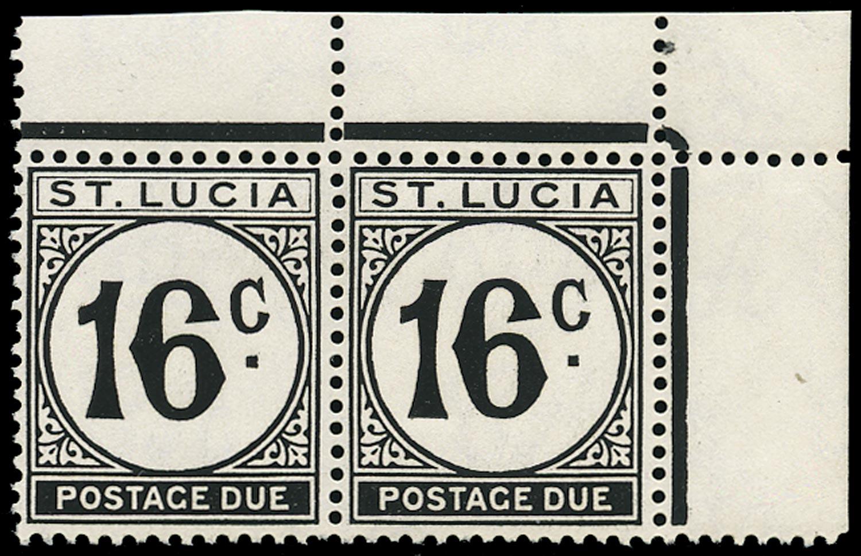ST LUCIA 1952  SGD10ac Postage Due 16c black watermark error St Edward's Crown unmounted mint