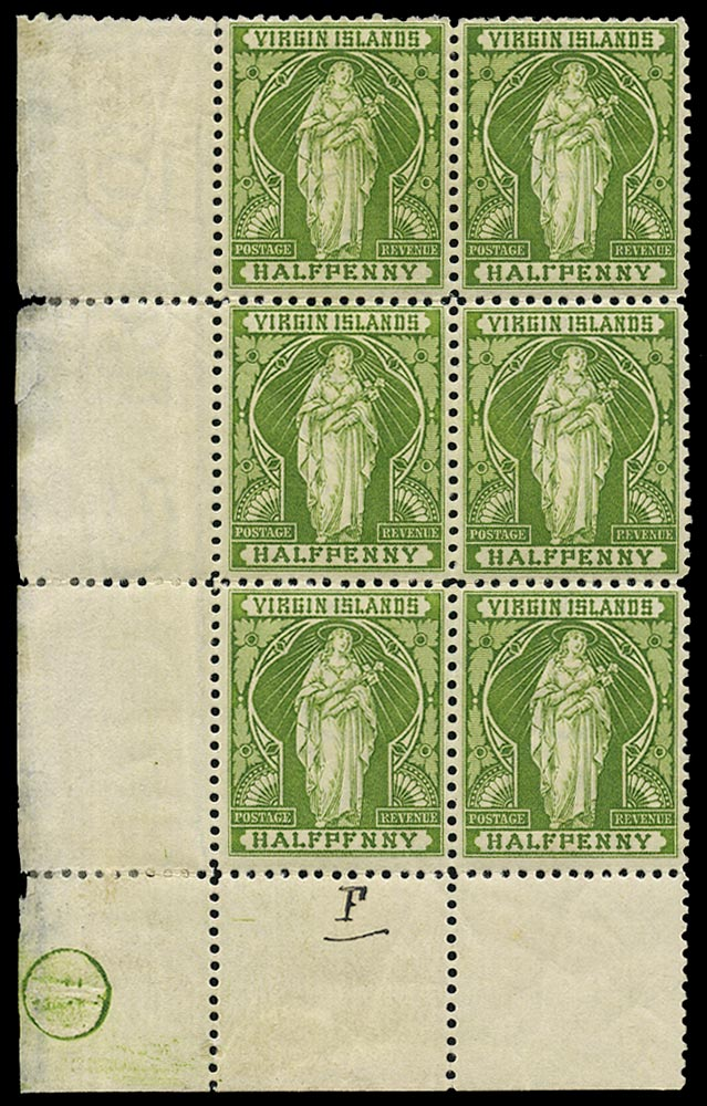 VIRGIN ISLANDS 1899  SG43/a/b Mint ½d yellow-green with variety HALⲄPENNY and HALFPFNNY
