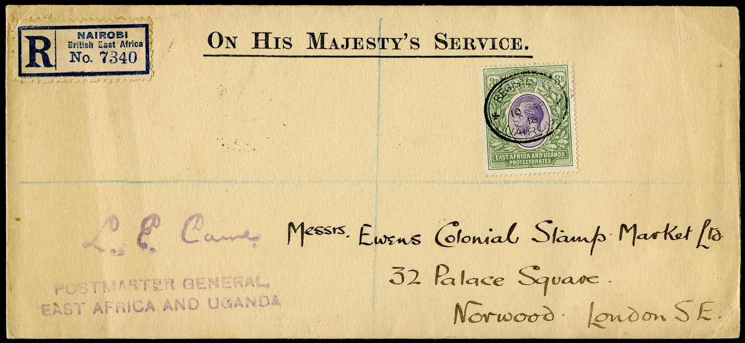 KUT 1918  SG55 Cover registered from Nairobi to London with solo 3r franking