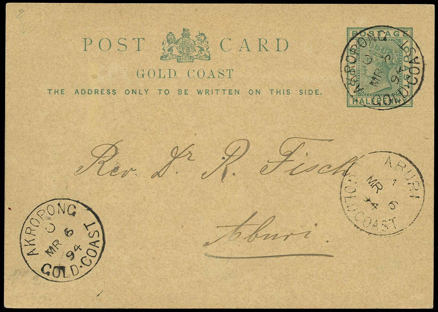 GOLD COAST 1894 Cover QV ½d green postcard from Akropong to Aburi