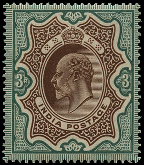 INDIA 1902  SG140 Mint KEVII 3r brown and green
