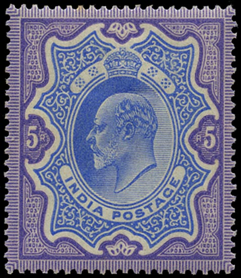 INDIA 1902  SG142 Mint KEVII 5r ultramarine and violet