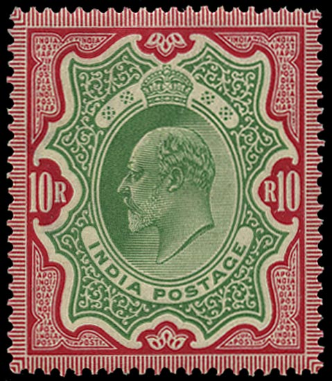 INDIA 1902  SG144 Mint KEVII 10r green and carmine