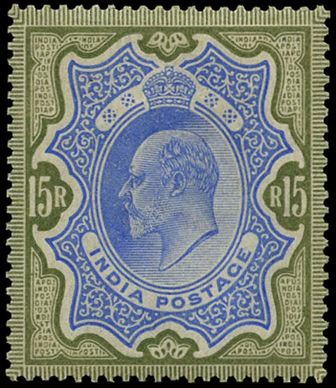 INDIA 1902  SG146 Mint KEVII 15r blue and olive-brown