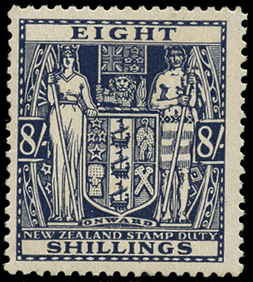 NEW ZEALAND 1940  SGF199 Postal Fiscal Arms 8s slate-violet watermark Multiple NZ and Star unmounted mint
