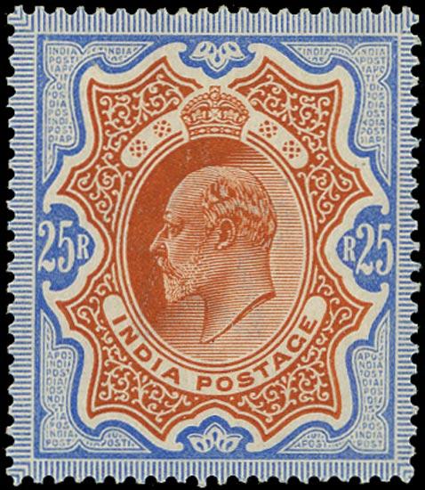 INDIA 1902  SG147 Mint KEVII 25r brownish orange and blue