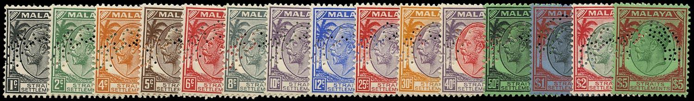 MALAYA - STRAITS 1936  SG260s/74s Specimen