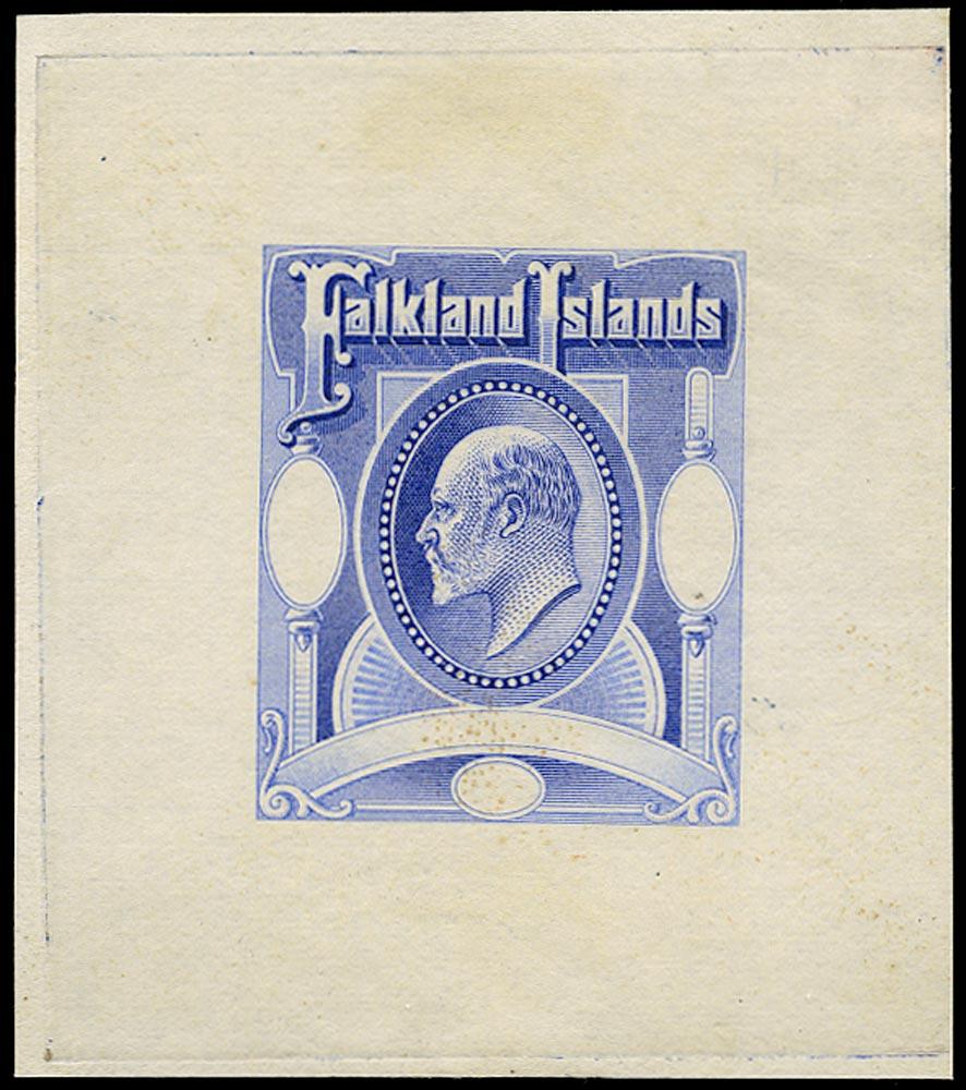 FALKLAND ISLANDS 1903  SG49/50 Proof Master Die Proof in Ultramarine