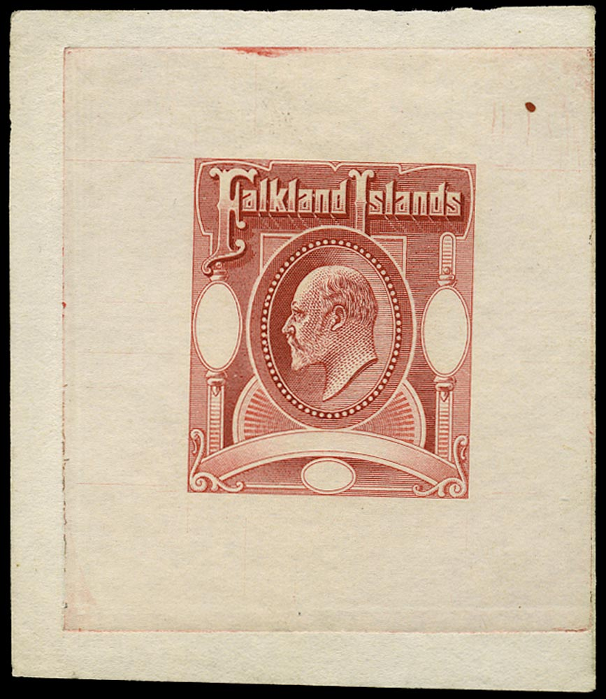 FALKLAND ISLANDS 1903  SG49/50 Proof Master Die Proof in Red
