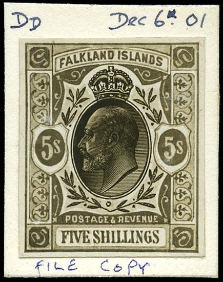 FALKLAND ISLANDS 1901  SG49/50 Essay Bromide File Copy