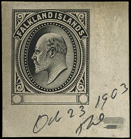FALKLAND ISLANDS 1903  SG43/48 Proof KEVII Master Die