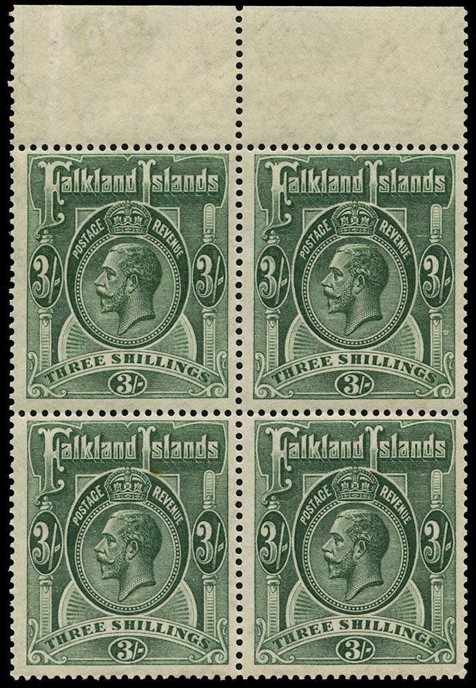FALKLAND ISLANDS 1912  SG66 Mint Block of 4