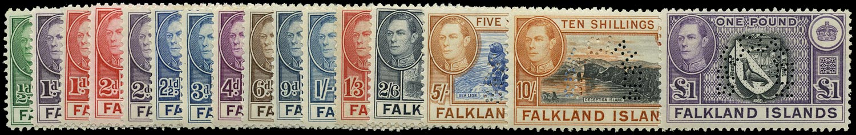 FALKLAND ISLANDS 1938  SG146s/63s Specimen Ex Tunisian Postal Archive