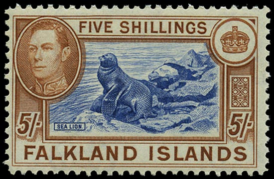 FALKLAND ISLANDS 1938  SG161d Mint steel blue and buff-brown 4th Printing