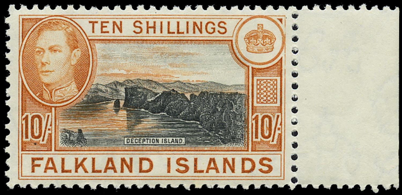 FALKLAND ISLANDS 1938  SG162a Mint black and orange 2nd printing