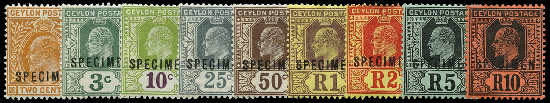 CEYLON 1910  SG292s/300s Specimen