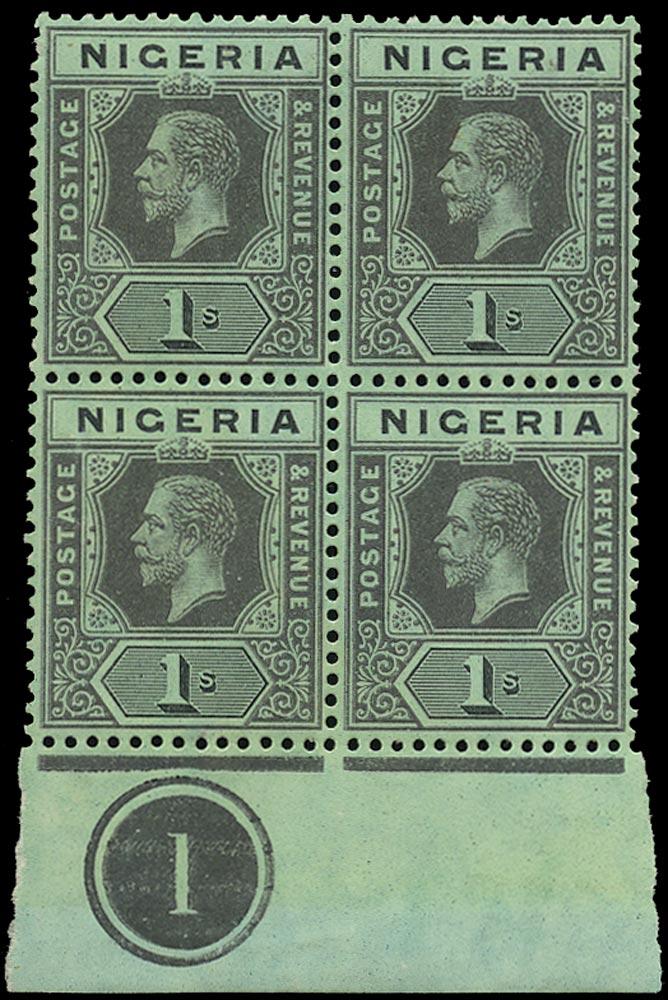 NIGERIA 1914  SG8a Mint black/yellow-green, WHITE back