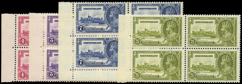 NEWFOUNDLAND 1935  SG250/3 Mint Coronation set in Blocks of 4
