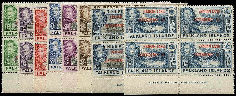 FALKLAND ISLAND DEPS 1944  SGA1/8 Mint Graham Land set of 8 imprint blocks