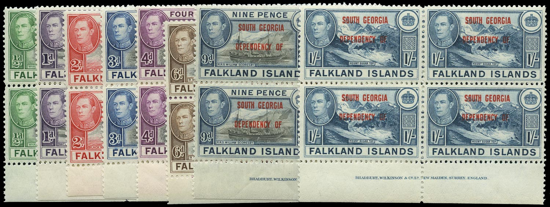 FALKLAND ISLAND DEPS 1944  SGB1/8 Mint South Georgia set of 8 imprint blocks