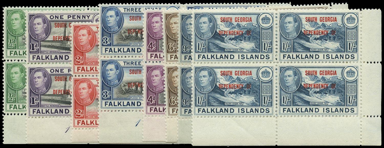 FALKLAND ISLAND DEPS 1944  SGB1/8 Mint unmounted South Georgia set of 8 plate blocks