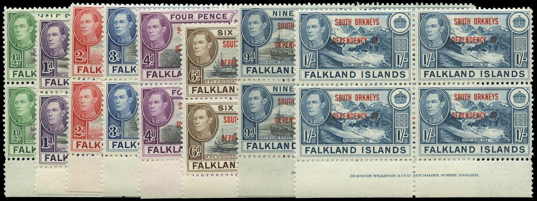 FALKLAND ISLAND DEPS 1944  SGC1/8 Mint South Orkneys set of 8 imprint blocks