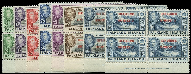FALKLAND ISLAND DEPS 1944  SGD1/8 Mint South Shetlands set of 8 imprint blocks