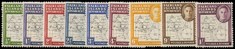 FALKLAND ISLAND DEPS 1949  SGG9/16 Mint unmounted Thin Map set of 9