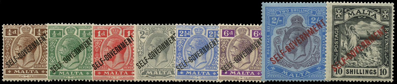 MALTA 1922  SG114/21 Mint Self-Government set of 8 to 10s Script watermark