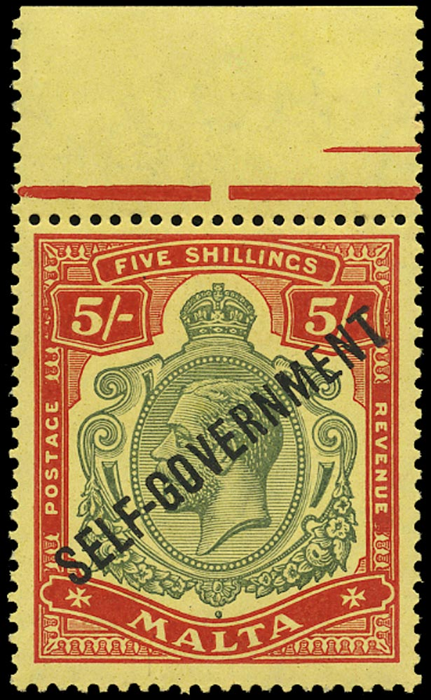 MALTA 1922  SG113 Mint unmounted 5s Self-Government 5s green and red watermark MCA