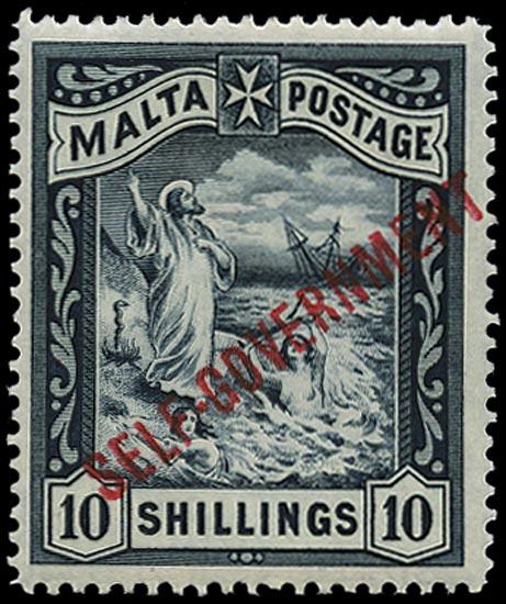 MALTA 1922  SG105 Mint Self-Government 10s blue-black watermark CC