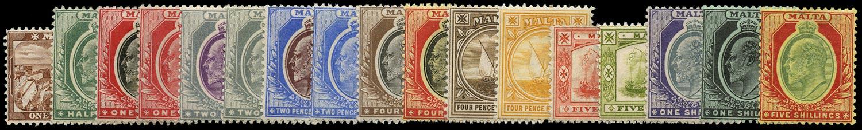 MALTA 1904  SG45/63 Mint KEVII set of 17 to 5s
