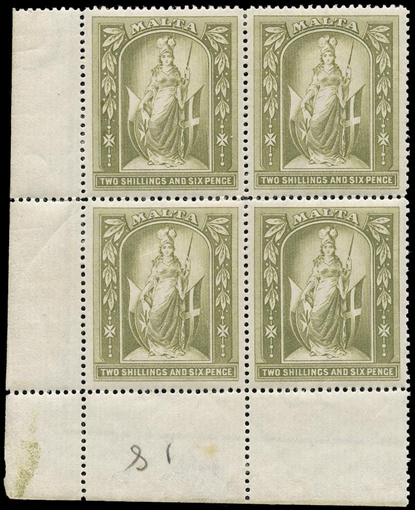 MALTA 1899  SG34 Mint 2s6d olive-grey watermark Crown CC