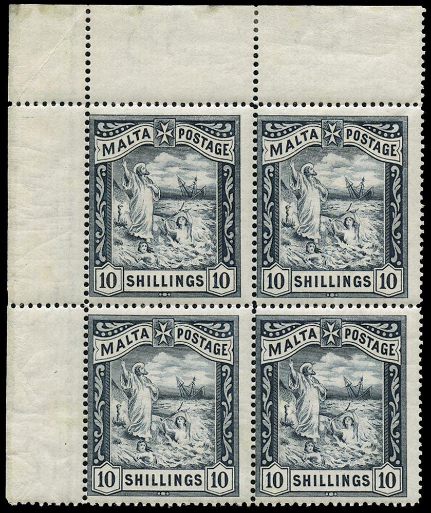 MALTA 1899  SG35 Mint 10s blue-black Shipwreck of St Paul watermark Crown CC