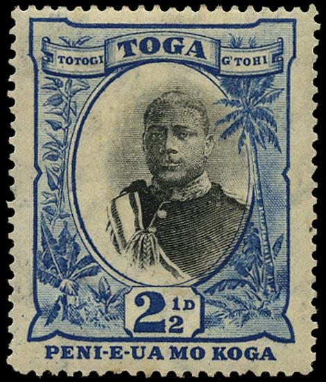 TONGA 1897  SG43ba Mint 2½d black and blue watermark sideways variety No fraction bar